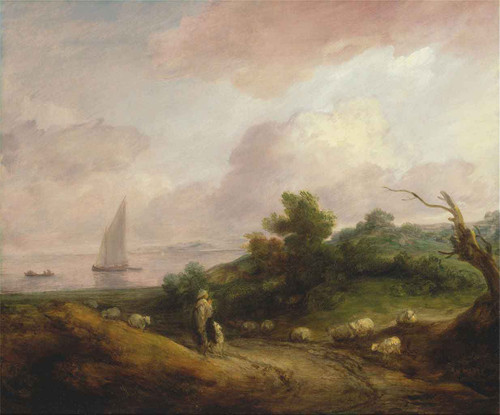 Coastal Landscape With A Shepherd And His Flock By Thomas Gainsborough  By Thomas Gainsborough