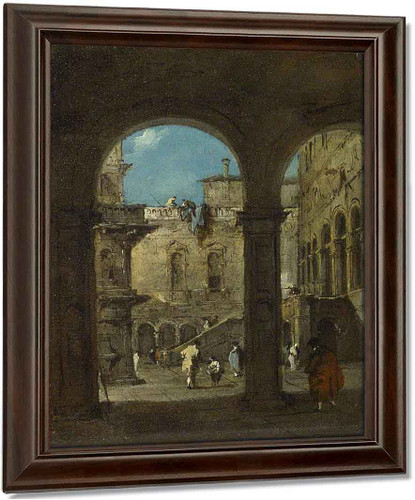 An Architectural Caprice By Francesco Guardi Oil on Canvas Reproduction