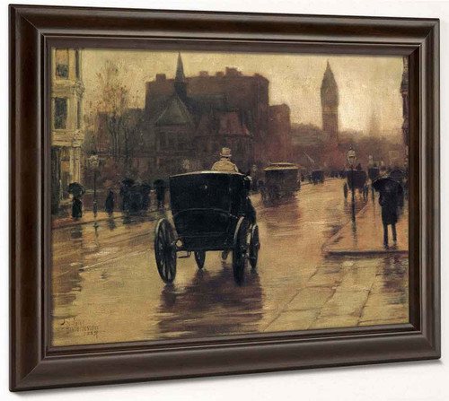 Columbus Avenue, Rainy Day By Frederick Childe Hassam  By Frederick Childe Hassam