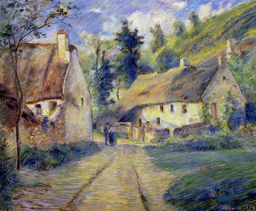 Cottages At Auvers, Near Pontoise By Camille Pissarro By Camille Pissarro