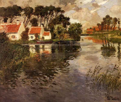 Cottages By A River By Fritz Thaulow
