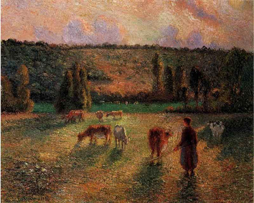Cowherd At Eragny By Camille Pissarro By Camille Pissarro