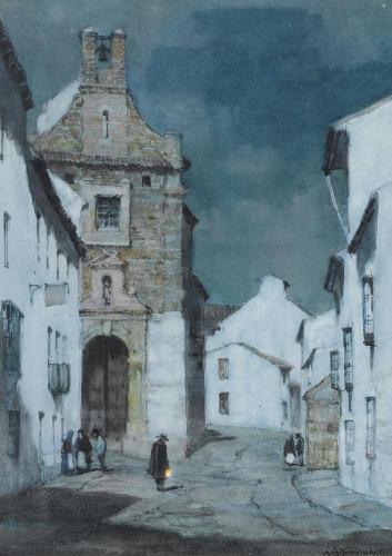 An Evening Street Scene, Spain By Albert Moulton Foweraker