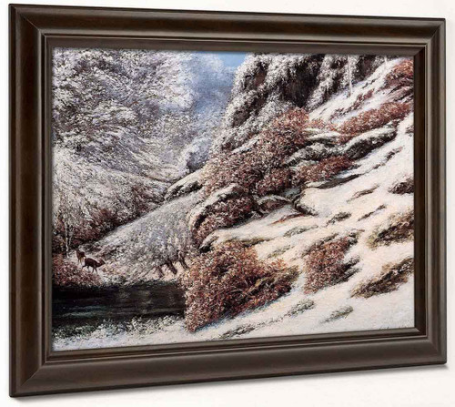 Deer In A Snowy Landscape By Gustave Courbet By Gustave Courbet