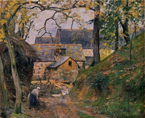 Farm At Montfoucault By Camille Pissarro By Camille Pissarro