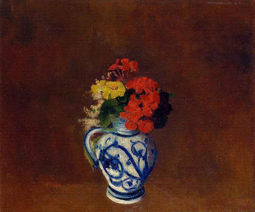 Flowers In A Vase With Blue Decoration By Odilon Redon By Odilon Redon