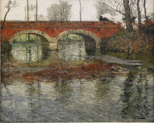 French River Landscape With A Stone Bridge1 By Fritz Thaulow