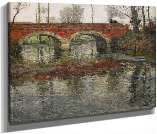 French River Landscape With A Stone Bridge By Fritz Thaulow