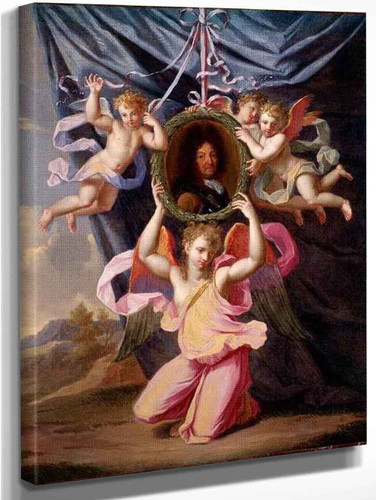 Angels Supporting An Oval Portrait Of Louis Xiv Before A Draped Curtain In A Landscape By Noel Coypel I
