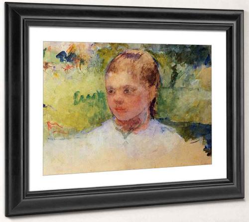 Girl's Head Green Background By Mary Cassatt By Mary Cassatt