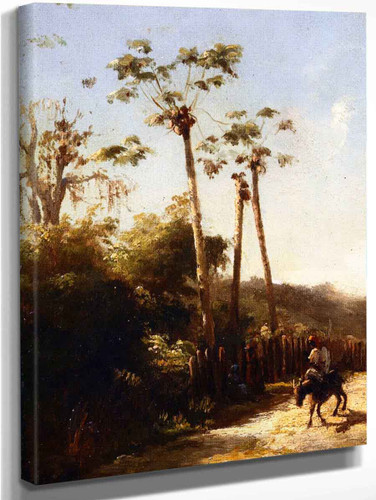 Antilles Landscape, Donkey And Rider On A Path By Camille Pissarro