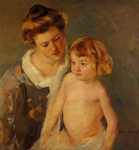 Jules Standing By His Mother By Mary Cassatt By Mary Cassatt