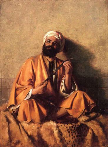 Arab Figure With Simitar By Charles Courtney Curran By Charles Courtney Curran