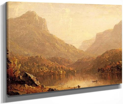 Lake Scene By Sanford Robinson Gifford  By Sanford Robinson Gifford