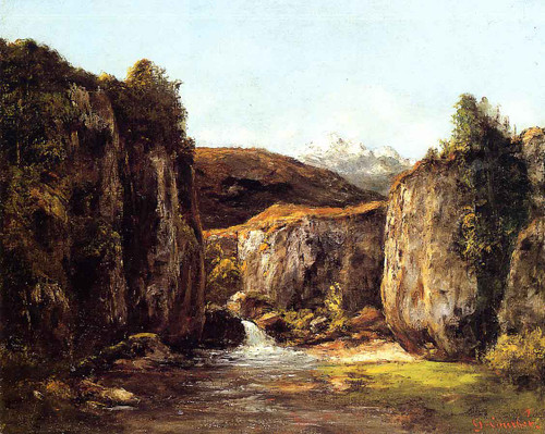 Landscape The Source Among The Rocks Of The Doubs By Gustave Courbet By Gustave Courbet