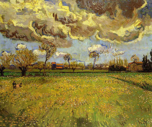 Landscape Under A Stormy Sky By Vincent Van Gogh