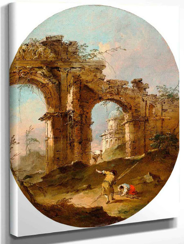 Architectural Capriccio With Figures By A Ruined Arch By Francesco Guardi