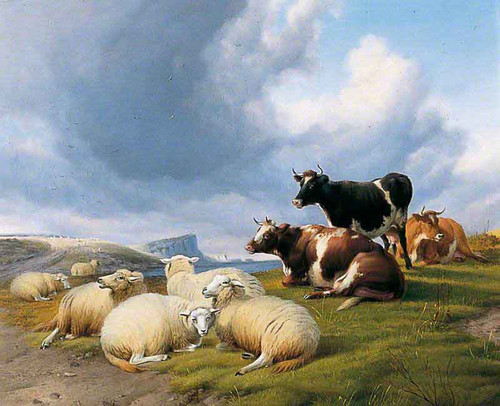 Landscape With Cattle And Sheep By Thomas Sidney Cooper By Thomas Sidney Cooper