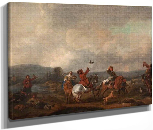 Landscape With Falconers By Philips Wouwerman Dutch 1619 1668