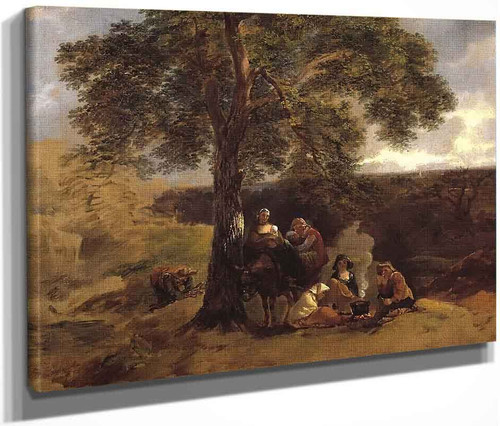 Landscape With Gipsies By Thomas Gainsborough  By Thomas Gainsborough