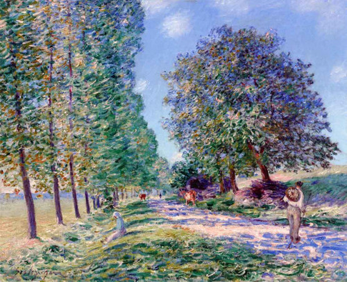 Lane Of Poplars At Moret On The Banks Of The Loing By Alfred Sisley