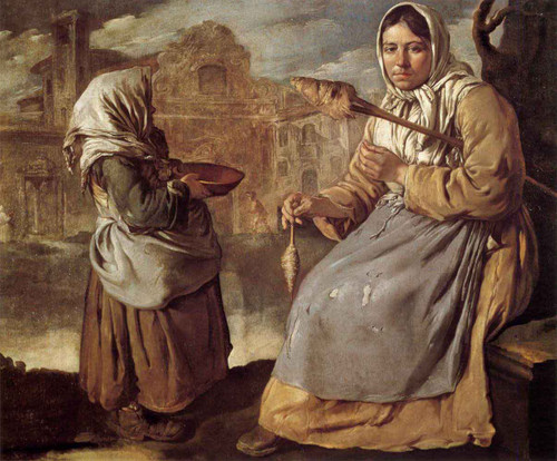 Little Beggar Girl And Woman Spinning By Giacomo Ceruti