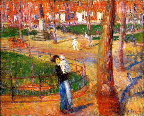 Mother And Baby, Washington Square By William James Glackens  By William James Glackens