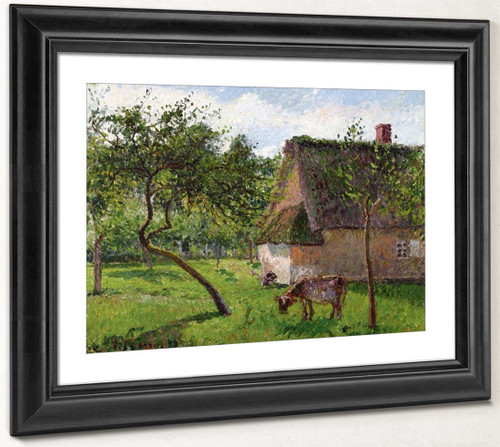 Orchard At Varengeville With Cow By Camille Pissarro By Camille Pissarro