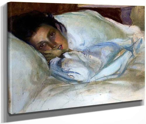 Retrato De Su Esposa, Josefa Lopez, En La Cama By Jose Mongrell Torrent