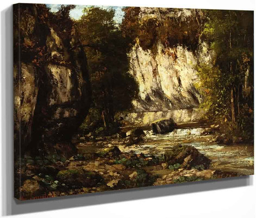 River And Cliff By Gustave Courbet By Gustave Courbet