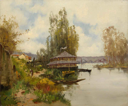 River Landscape With Boat House By Eugene Galien Laloue