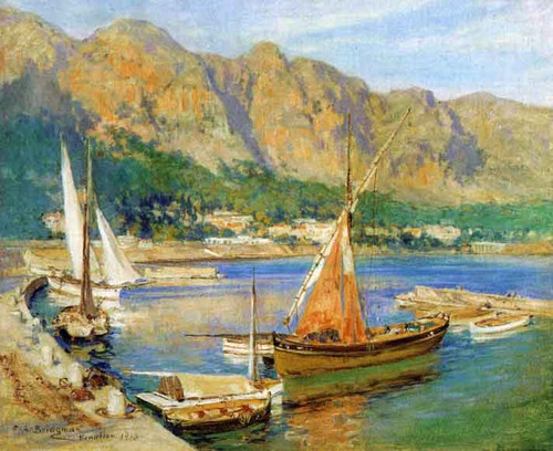Sailboats, South Of France By Frederick Arthur Bridgman