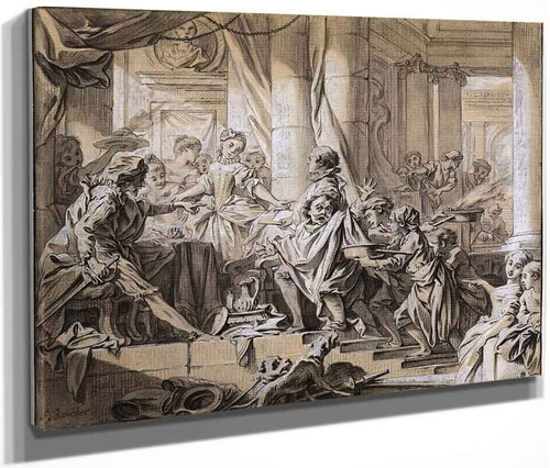 Sancho Fleeing From The Servants Of The Duke By Francois Boucher