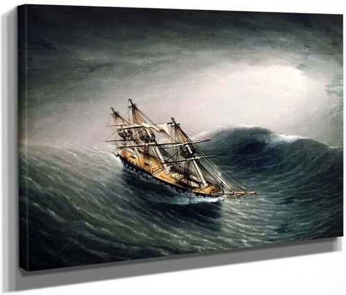 Schooner In A Stormy Sea By James E. Buttersworth By James E. Buttersworth
