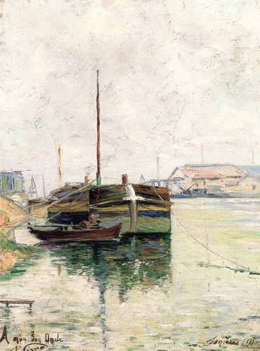 Barges, Asnieres By Paul Signac
