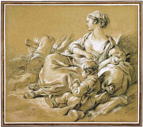 Shepherdess And Child By Francois Boucher