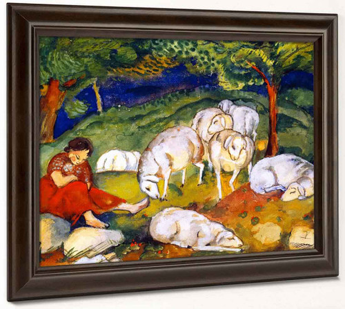 Shepherdess With Sheep By Franz Marc By Franz Marc