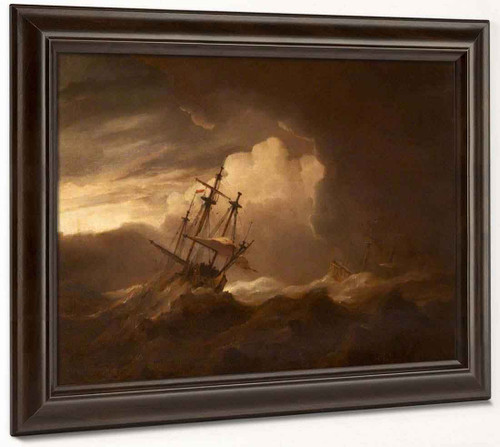 Ships In A Storm By Willem Van De Velde The Younger