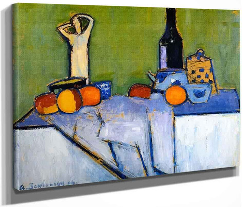 Sill Life With Figure By Alexei Jawlensky By Alexei Jawlensky