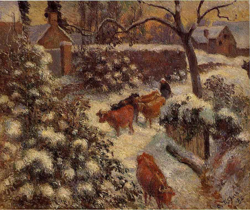 Snow Effect In Montfoucault By Camille Pissarro By Camille Pissarro