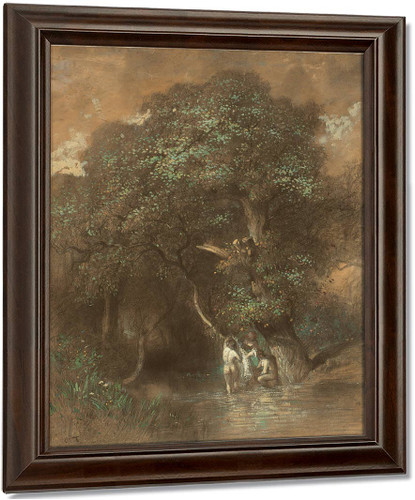 Bathers By A Giant Oak By Constant Troyon