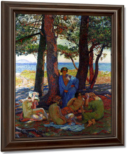 Bathers Under The Pines By The Sea By Theo Van Rysselberghe Oil on Canvas Reproduction