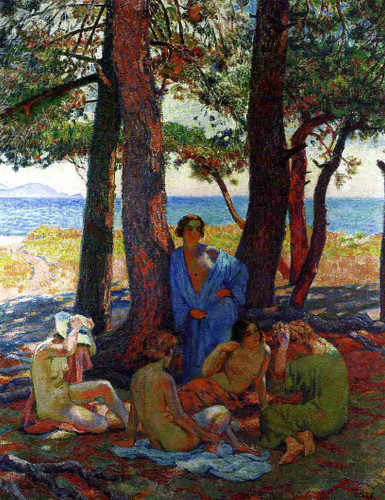 Bathers Under The Pines By The Sea By Theo Van Rysselberghe