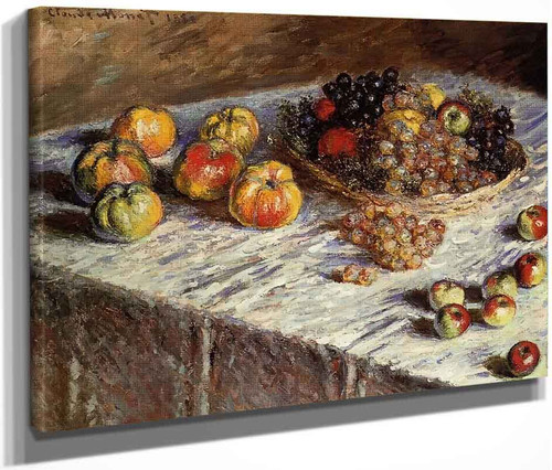 Still Life Apples And Grapes By Claude Oscar Monet