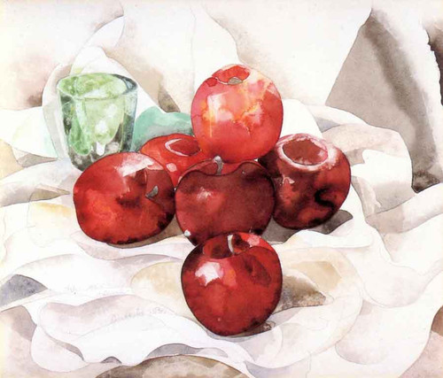 Still Life Apples And Green Glass By Charles Demuth By Charles Demuth