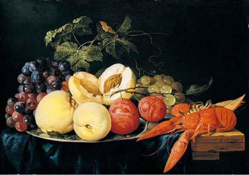 Still Life Of Peaches, Plums And A Lobster By Jan Davidszoon De Heem By Jan Davidszoon De Heem