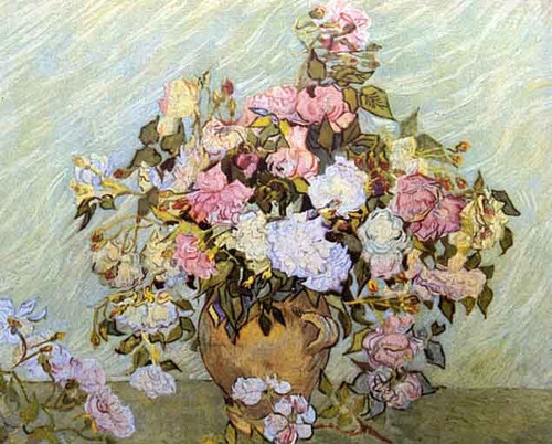 Still Life Vase With Roses By Jose Maria Velasco