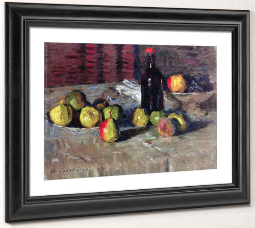 Still Life With Apples And A Bottle 2 By Alexei Jawlensky By Alexei Jawlensky