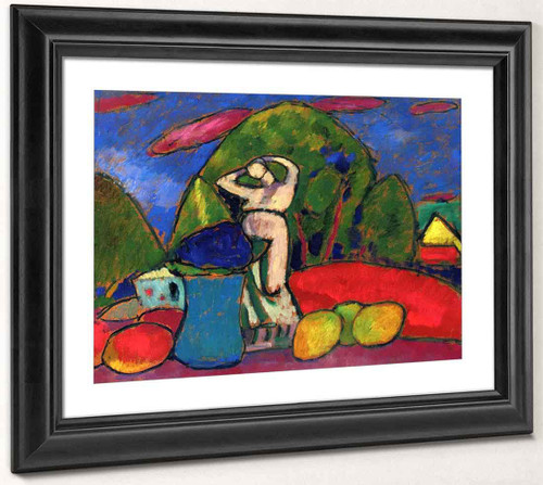 Still Life With Figure, Fruit And Landscape By Alexei Jawlensky By Alexei Jawlensky