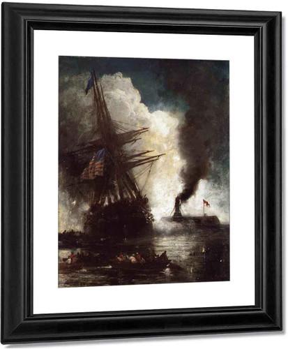Battle Between Ironclad, Merrimac And Chesapeake By Edward Moran